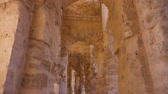 arkeolojik : Gallery with arches and brick columns in Amphitheatre of El Jem, tilting view Stok Video