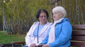 metade do comprimento : Two senior women sitting on bench together in park Stock Footage