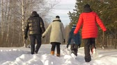 wintertime : Parenthood, fashion, season and people concept - happy family with child in winter clothes walking outdoors. Rear view Stock Footage