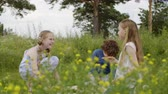 juntar : Childrens quarrel during the walk. Gender difference in friendship perception. Two children teen girls offended boy sitting on glade together on picnic and he got up and left. Stock Footage