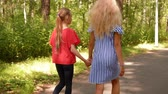 ジョイント : Teenagers girlfriend holding hands walking in summer park back view. Two girls walking on park pathway at summer day. Frienship and relationships 動画素材