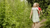 Playful boy and girl walking on footpath in countryside. Cheerful brother and sister running on path green lawn. Summer children activities outdoor Стоковые видеозаписи