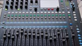 ayar : Mixer Console Electrical Sound Studio Closeup. Electronic Soundboard Professional Radio Record Musician Occupation. Knob Panel Button Amplifier Adjustment Music Industry Equipment Concept Stok Video