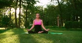 jib : young beautiful Asian girl practicing yoga in the Park,Dolly shot, Sunny day Stock Footage