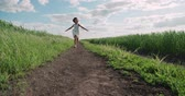 arejado : little girl running on a rural road through green field of wheat, slow motion