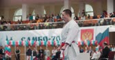 kopogás : MOSCOW - March 11, 2017, arena Sambo-70, the Cup of Russia on karate:individual performances of the kata athletes, slow motion Stock mozgókép