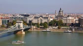 wegry : Overview of Budapest with Szechenyi chain bridge and St. Stephens Basilica
