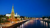 russo : Overview of downtown Moscow with Kremlin at night time Stock Footage