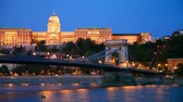 europa : Szechenyi suspension bridge in Budapest, Hungary in the morning time with the Buda castle behind it