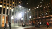 logotipo : NEW YORK CITY - MAY 12: Entrance to Apple retail store with people on May 12, 2013 in New York. The Apple Store is a chain of retail stores owned and operated by Apple Inc., dealing in computers and consumer electronics. Stock Footage