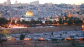 Overview of Old City in Jerusalem, Israel with The Golden Dome Mosque Wideo