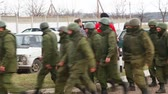 russo : PEREVALNE, UKRAINE - MARCH 5: Russian soldiers marching on March 5, 2014 in Perevalne, Crimea, Ukraine. On February 28, 2014 Russian military forces invaded Crimea peninsula.