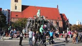 BERLIN - OCTOBER 3, 2014: The Neptune Fountain on October 3, 2014 in Berlin, Germany. It was built in 1891 and was designed by Reinhold Begas. The Roman god Neptune is in the center.