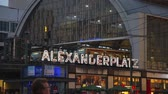 BERLIN - OCTOBER 3, 2014: Alexanderplatz in the night on October 3, 2014 in Berlin, Germany. Its a large public square and transport hub in the central Mitte district of Berlin, near the Fernsehturm. Wideo