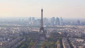 frança : Aerial view of Paris with the Eiffel tower Stock Footage