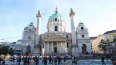 viyana : VIENNA - OCTOBER 19: St. Charless Church (Karlskirche) on October 19, 2014 in Vienna. Its widely considered the most outstanding baroque church in Vienna, as well as one of the citys greatest buildings