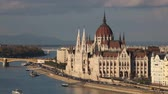 Parliament building in Budapest, Hungary on a cloudy day Wideo