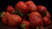 fragaria : Slow Motion - Fresh Strawberries Camera rotation 360 degrees, closeup. Stock Footage