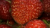 fragaria : Slow motion - Rotation of juice strawberries. Extreme close up, Camera rotation 360 degrees. Stock Footage