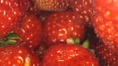 внутри : Inside a strawberry pack. Camera moves inside a box of sweet strawberries. Close up, Camera moves forwards. 4K - 50fps