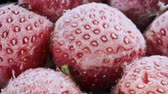 fragaria : Extreme closeup of fresh frozen strawberries, Rotation 360 degrees, Close-up