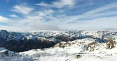 Distant View Of Ski Resort On Snowy Landscape In Austria 4K
