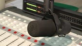 estéreo : Closeup of a sound panel. recording equipment at the radio station.