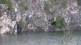 karelia : Rocks,lake in the mountains.