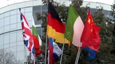 jednota : Flags of European countries on flagpoles windblown.