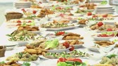 bankiet : the Swedish table: meat, rice, pasta, salads and various cakes and pastries. Wideo