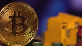 international economy : Cryptocurrency bitcoin gold. Bitcoins on the motherboard.