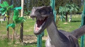 t rex : Russia. Vologda - 20 may 2018. Park with animals of the Jurassic period. The dinosaur
