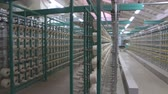 tekercs : Industrial textile factory. Coils with threads in production Stock mozgókép
