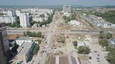 dormitory : aerial shot of city, improvement of city, construction of roads and tram lines Stock Footage