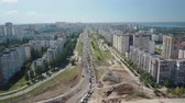 dormitory : aerial view of traffic jam of modern russian city in sunny summer day