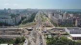 dormitory : aerial view of large traffic jam in modern russian city in sunny summer day Stock Footage
