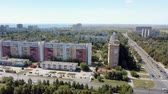 amplo : aerial view of Togliatti city, russian town , with buildings and roads in summer day