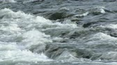 dinginlik : rapid flow of mountain river, close up of flowing water in sunny day Stok Video
