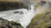 outstanding : view on a famous icelandic waterfall Gullfoss and Hvita river valley at the bottom in fall day Stock Footage