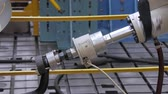 plunger : close-up of piston of robotic machine is immitating a car trailer in movement ,bench tests