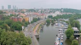 telhado : aerial view of Prague with residential districts and small river mooring