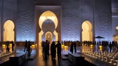 ABU DHABI, U.A.E. - JAN, 2018: Sheikh Zayed Grand Mosque in night time, panorama of main entrance