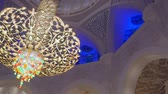 swarovski : ABU DHABI, U.A.E. - JAN, 2018: Sheikh Zayed Grand Mosque, interior, view on exclusive chandelier Stock Footage
