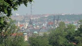 view on Prague city in sunny spring day, tree branches are on sides