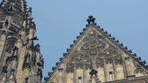 decorated stone towers of ancient gothic church against sky Stok Video