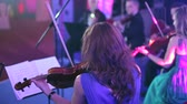 tail : Performance of the orchestra on stage Concert Hall Stock Footage