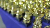 trófea : Golden sports cups for winning competitions