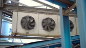 condicionador : large industrial fans in a modern plant. shoot with slider