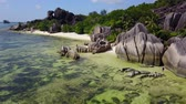 Amazing landscape in synny day at La Digue with Seychelles fantastic rocks anse dargent 4K