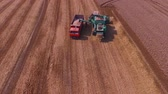 Combine harvester harvest wheat on the field. Loading in a truck. Aerial view. Stockvideo